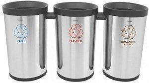 Conjunto de 3 Lixeiras em aço inox para coleta seletiva 50 litros cada Tramontina - Cod. 94539/003