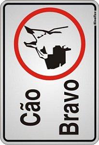 Placa de Sinalização Alumínio CÃO BRAVO - ILUSTRADO - 16 X 23 cm