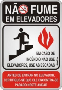 Placa de Sinalização Alumínio NÃO FUME EM ELEVADORES - 16 X 23 cm