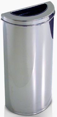 Cesto meia-lua em Aço Inox com semi aro em Inox 40 litros - Cod. 1156