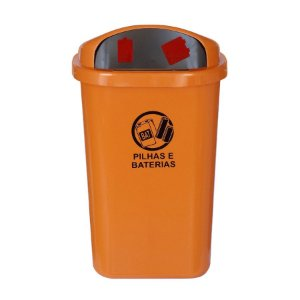 Cesto de coleta seletiva para descarte de pilhas e baterias sem poste na cor laranja