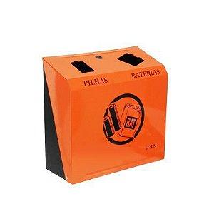 COletor de descarte de pilhas e baterias em aço carbono 1020 preta e laranja - Cod. M5