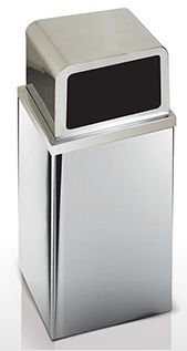 Lixeira em aço inox com tampa alta em inox 100 Litros - Cod. 722I
