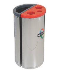 Coletor seletivo com divisão para lixo e outra para descarte de copos descartáveis em aço inox 45 L - 450 Copos - Cod. 1615/1412