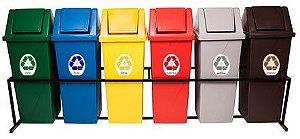 Conjunto para coleta seletiva com 06 cestos quadrados com tampa vai e vem 92 Litros - T692
