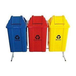 Conjunto para coleta seletiva com 03 cestos quadrados com tampa vai e vem 100 litros