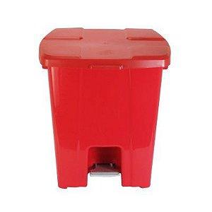 Lixeira plástica com Pedal 30 litros - Vermelho