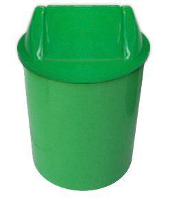 Cesto plástico redondo com tampa vai e vem 15 Litros - Verde