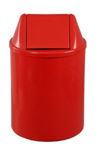 Cesto plástico redondo com tampa vai e vem 15 Litros - Vermelho