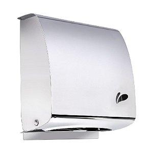 Dispenser de parede para papel toalha interfolhas, em aço inox