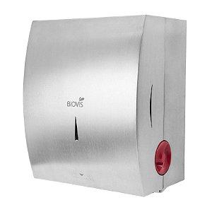 Dispenser para papel toalha em bobina Sistema autocorte em Aço Escovado