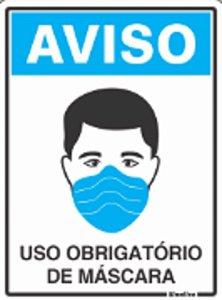 Placa Sinalizadora em Poliestireno 15 x 20 cm - Dizeres: USO OBRIGATÓRIO DE MASCARA