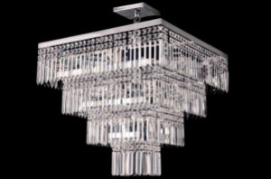 Lustre de Cristal legitimo quadrado 9 lampadas cromado