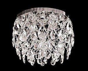 Plafon de cristal legitimo asfour redondo Strauss 2 lampadas Cromado