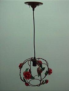 Pendente de ferro globo flor vermelha