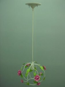 Pendente de ferro globo flor rosa