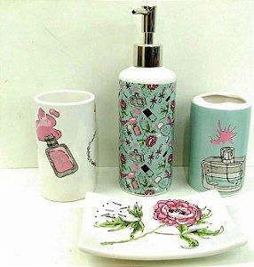 Jogo de Banheiro em ceramica - Woman - com 4 pecas