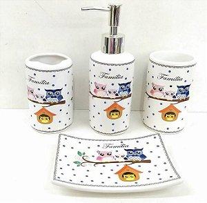 Jogo de Banheiro em ceramica - Familia Coruja 4 - com 4 pecas
