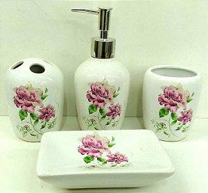 Jogo de Banheiro em ceramica - Flores do Jardim - com 4 pecas