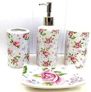 Jogo de Banheiro em ceramica -Rosas - com 4 pecas