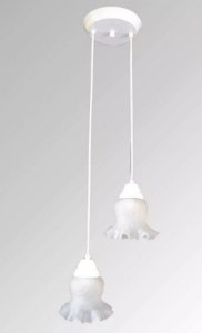 Pendente de ferro paris branco 2 lampadas com vidro caracol
