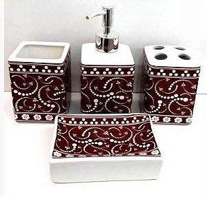 Jogo de Banheiro em ceramica -egipcio - com 4 pecas
