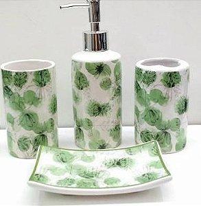 Jogo de Banheiro em ceramica - Folhagem - com 4 pecas