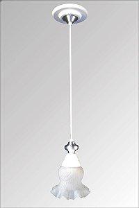 Pendente de ferro paris branco com vidro caracol