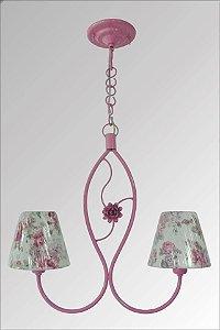 Lustre de  ferro com flor e com cupula estampada supreme