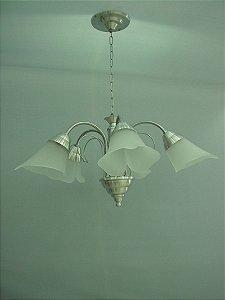 Lustre de aluminio escovado Italia com vidro liz 5 lampadas