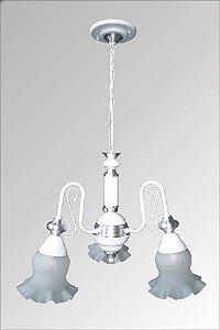 Lustre de aluminio Paris com vidro caracol 3 lampadas