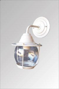 Arandela de aluminio Aladin pequena branca com vidro cristal