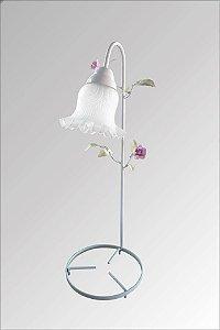 Abajur para fonte em ferro decorado com flores com vidro caracol