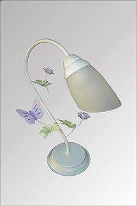 Abajur de ferro branco decorado com flores com vidro liz
