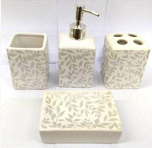 Jogo de Banheiro em ceramica - Folhas Cinza Prata-com 4 pecas