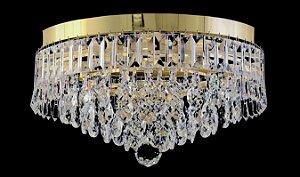 Plafon de cristal legitimo Asfour redondo 4 lampadas Dourado