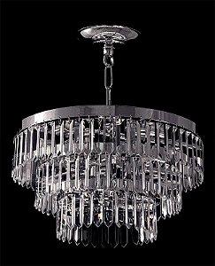 Lustre de Cristal Legitimo Asfour 5 lâmpadas Cromado