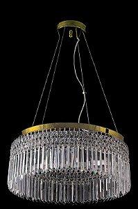 Lustre de Cristal Legitimo Asfour redondo 5 lâmpadas Dourado