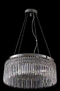 Lustre de Cristal Legitimo Asfour Redondo 5 lâmpadas Cromado
