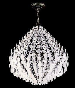 Lustre de cristal de Rocha Strauss 12 lâmpadas Cromado