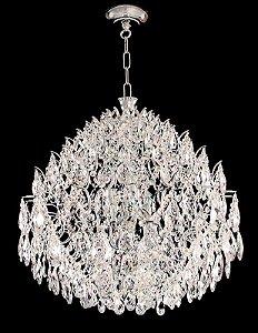 Lustre de cristal Legitimo Asfour Strauss 8 lâmpadas Cromado