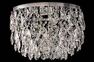Plafon de cristal Legitimo Asfour Strauss 4 lâmpadas Cromado