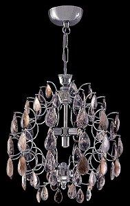 Lustre de  Cristal de Rocha Strauss Facile 4 lâmpadas Cromado
