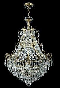 Pendente de Cristal Legitimo Asfour 8 lampadas dourado