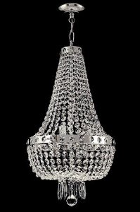 Lustre de cristal italiano Império 4 lâmpadas Aro Liso Cromado