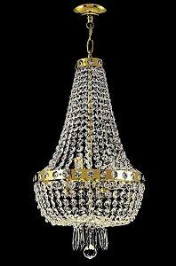 Lustre de cristal italiano Império 4 lâmpadas Aro Liso Dourado