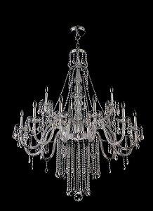 Lustre de Cristal Legitimo Asfour 18 lampadas Cromado