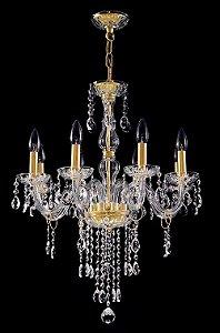Lustre de cristal Legitimo Asfour 8 lâmpadas Cromado