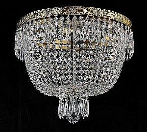 Plafon de cristal legitimo italiano imperio 4 lampadas aro duplo dourado