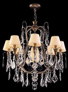 Lustre de cristal Legitimo Asfour 9 lampadas Ouro Velho